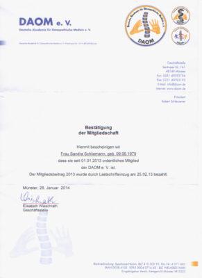 Zertifikat DAOM Sandra Schliemann