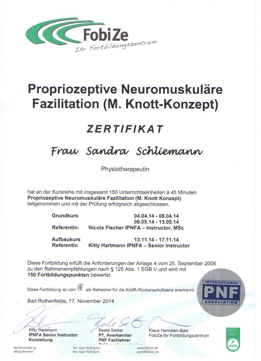 PNF-Zertifikat Sandra Schliemann