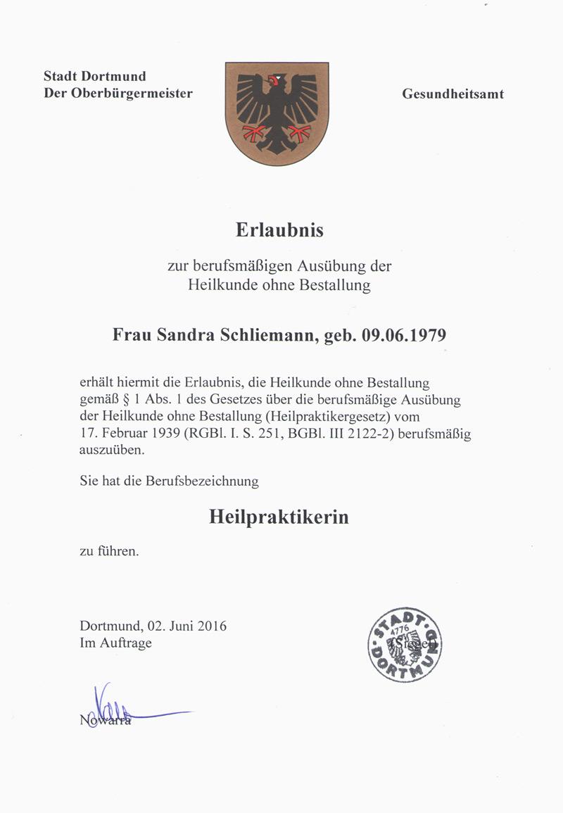 Heilpraktiker-Zeugnis Sandra Schliemann