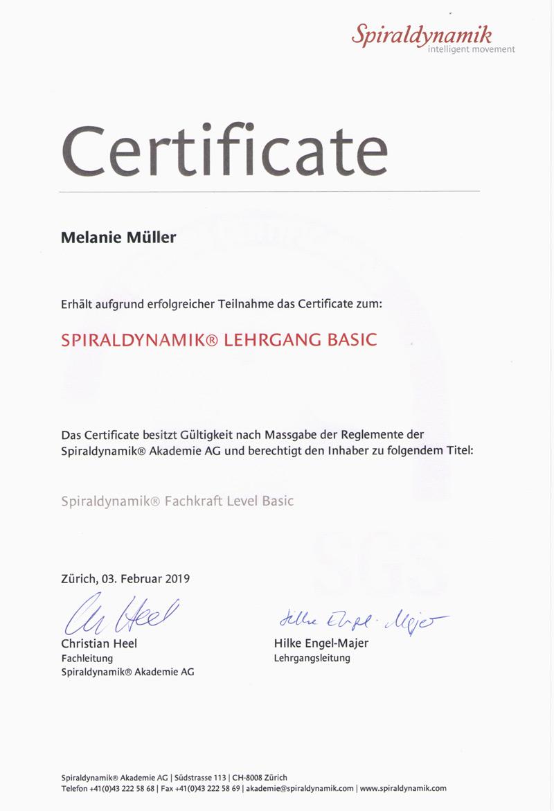 Zertifikat Spiraldynamik Melanie Müller